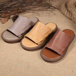 Genuine Leather Women Summer Cool Flat Sandals Slippers herhershoes