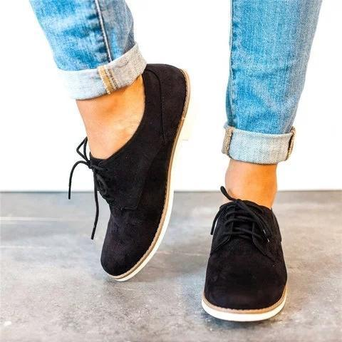 Comfort Low Heel Oxford Shoes Lace-up Daily Loafers herhershoes