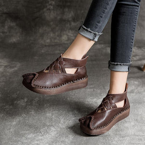 Retro Ethnic Style Cross Weaving Thick Sole Sandals herhershoes