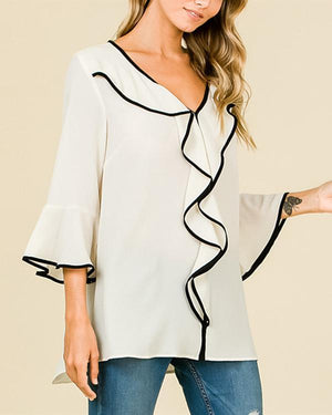 Fashion Trumpet Sleeve Solid Color Loose Chiffon T-Shirt Top herhershoes