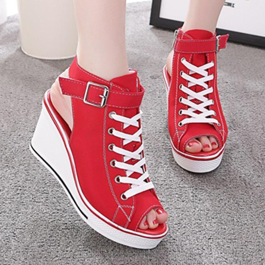 Women's Sneaker High-Heeled Fashion Canvas Shoes High Pump Lace Up Wedges Side Zipper Shoes herhershoes