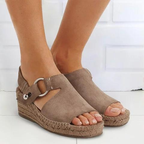 Women Arc Suede Espadrille Wedge Sandals herhershoes