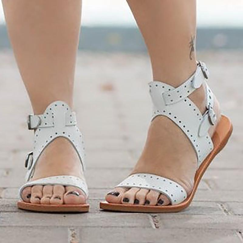 Adjustable Buckle Open Toe Casual Flat Sandals herhershoes