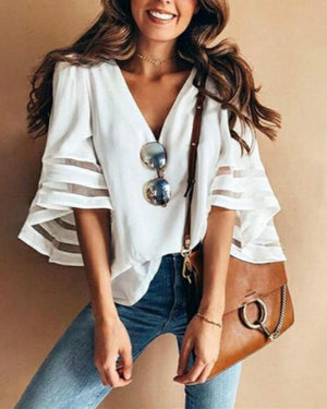 Plus Size Women Loose Chiffon Shirt V-neck Stitching Casual Top Blouses herhershoes