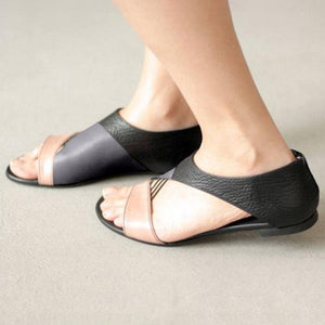Simple Stitching Color Flat Sandals herhershoes