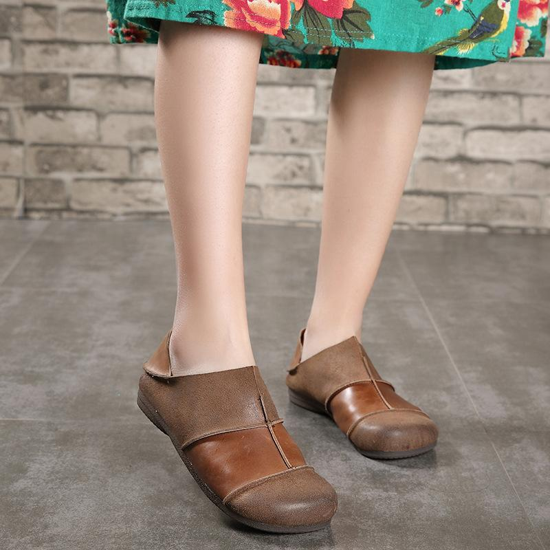 Casual Splice Women Loafers Retro Handmade Shoes herhershoes