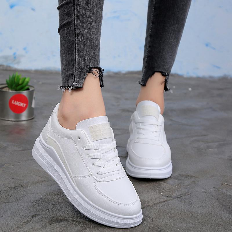 Women Casual Sports White Lace Up Flat Sneakers herhershoes
