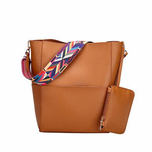 2pcs Crossbody Bag PU Leather Large Capacity Handbag herhershoes