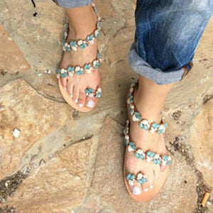 Women Beach Flat Heel Rhinestone Summer Sandals herhershoes