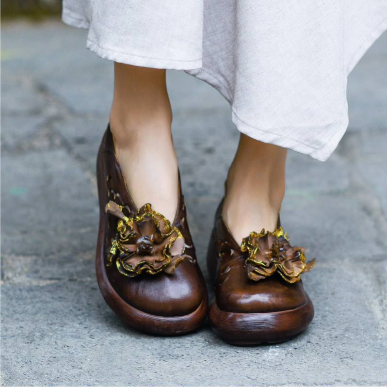 Flower Ethnic Wedge Heel Comfortable Hollow Hole Loafers Shoes herhershoes