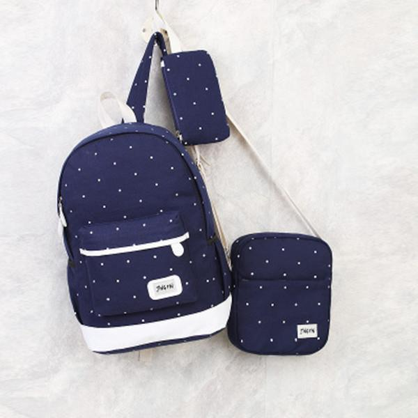 3PCS Set Canvas Backpack Casual Large Capacity School Bag herhershoes