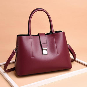 Simplicity Solid Color Lock Catch Handbag Crossbody Bag herhershoes