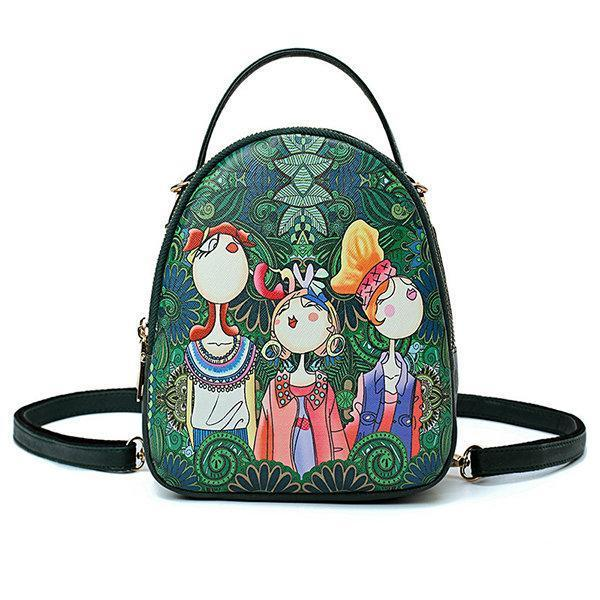 Bohemian Forest Multi-function Backpack Crossbody Bag herhershoes