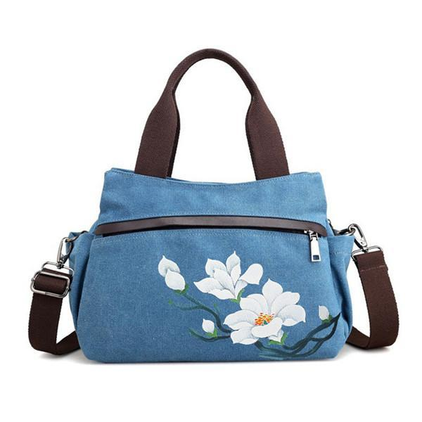 Lotus Canvas Tote Handbag Chinese Style Front Pockets Crossbody Bag herhershoes