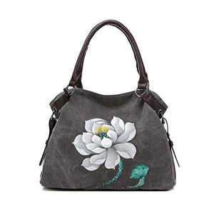 Hand Painted Lotus Handbag Vintage Chinese Style Shopping Bag herhershoes