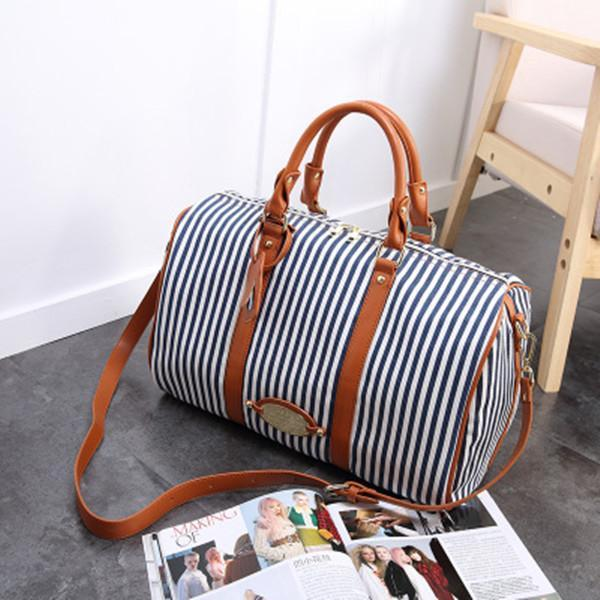 Canvas Stripe Large Capacity High-end Luggage Bag Travel Bag herhershoes