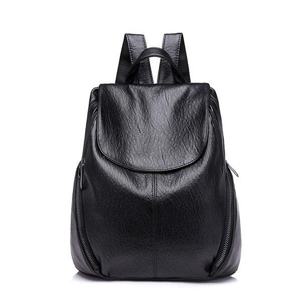 Women Leisure Solid Large Capacity Casual Backpack herhershoes