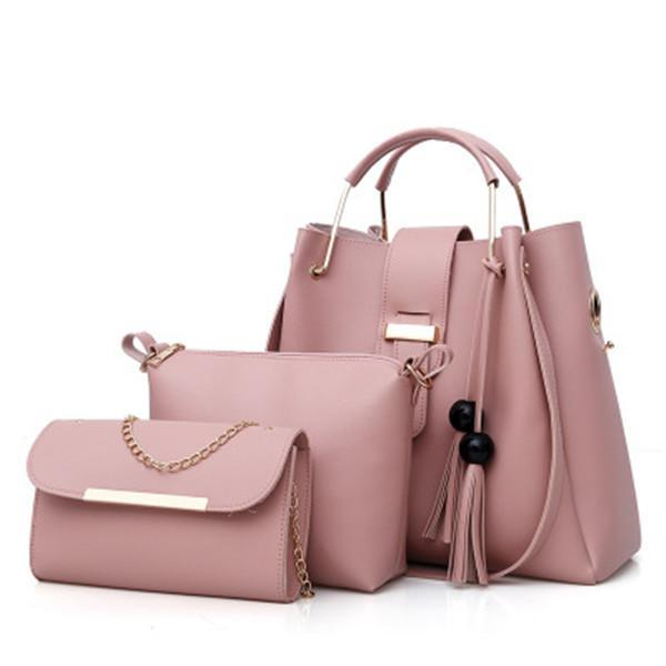 3 Pcs Women's Handbag Set Solid Color Tassel Pendant Bags herhershoes