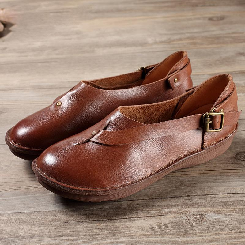 Adjustable Buckle Round Toe Soft Loafers herhershoes