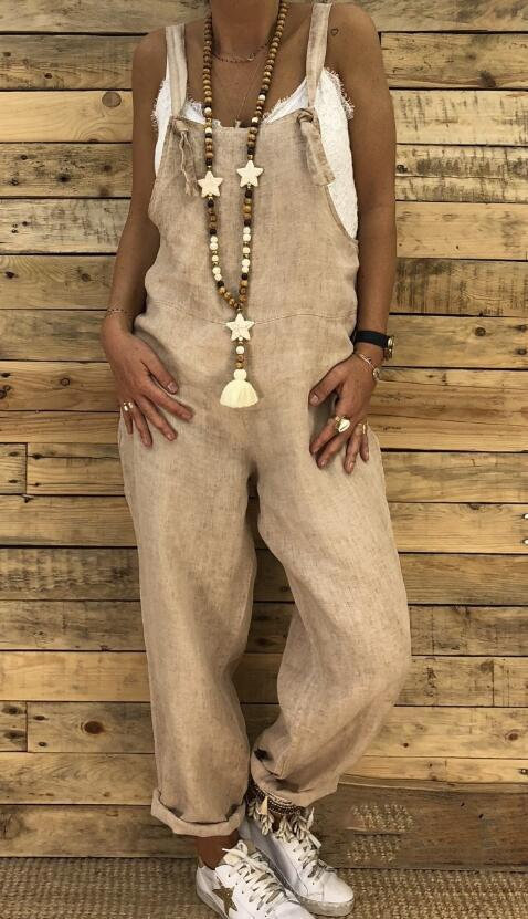 2019 Fashion Women Casual Solid Color Pocket Loose Overalls Street Style Jumpsuits herhershoes