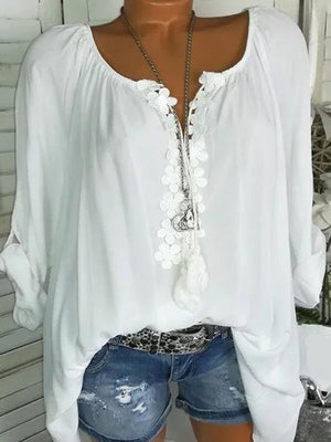 Long Sleeve Casual Solid V neck Plus Size Blouse herhershoes