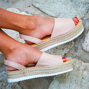 Women PU Creepers Sandals Casual Back Strap Shoes herhershoes