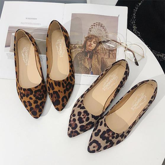 Artificial Suede Round Toe Slip on Leopard Flat Loafers Low Heel Simple Pure Color herhershoes