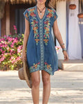 Plus Size Bohemian Embroidery V Neck Mini Dress herhershoes