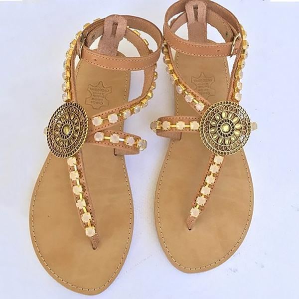 Handmade Sandals With Flat Bottom Hollowed Out herhershoes