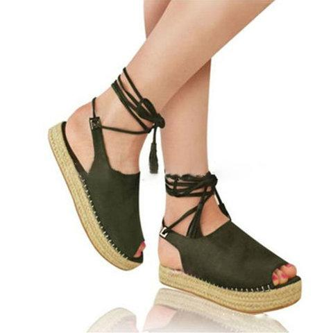 Women Creeper Sandals Casual Espadrilles Lace Up Shoes herhershoes