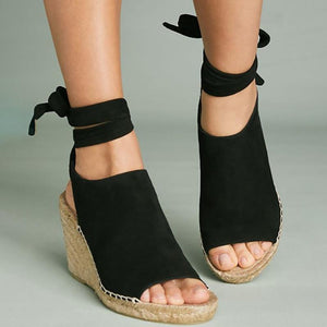 Women Flocking Wedge Sandals Vie Tie Up Shoes herhershoes