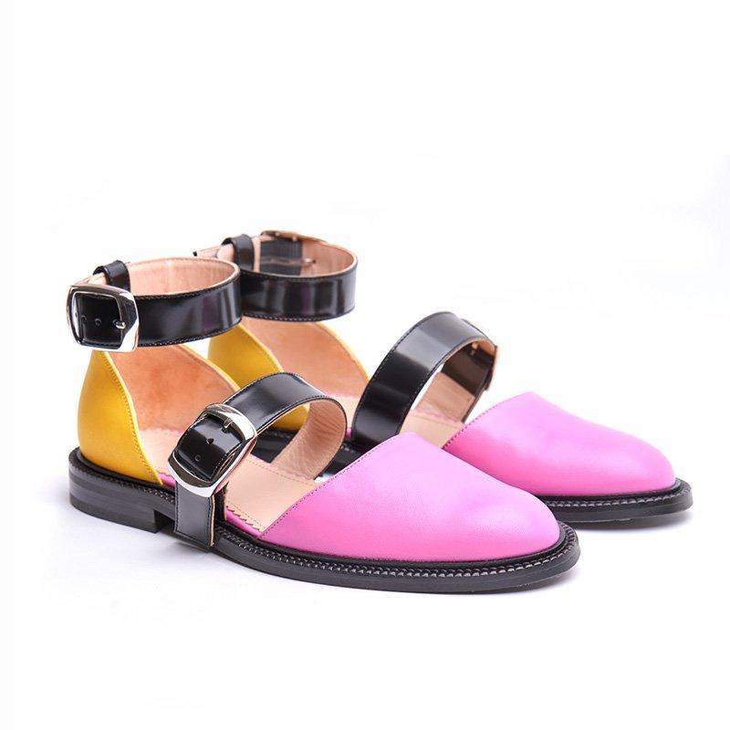 2019 Fashion Trends Low Heel Color block Buckle Flats herhershoes
