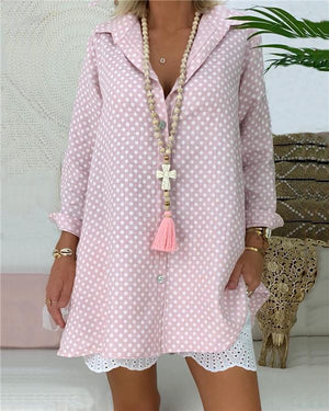 Plus Size Polka Dots Women Casual Shirts Daily Tops herhershoes
