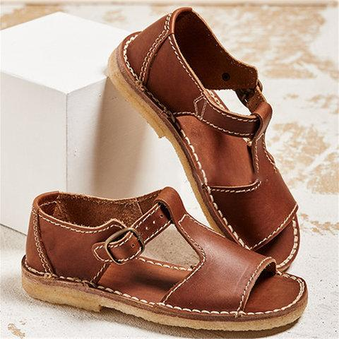 Women Vintage Adjustable Buckle Sandals herhershoes