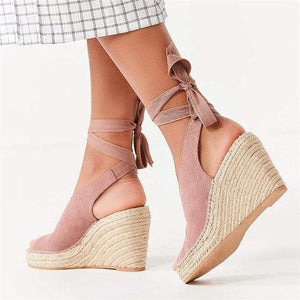 Espadrille Ankle Tie Sandals Peep Toe Wedge Sandals herhershoes