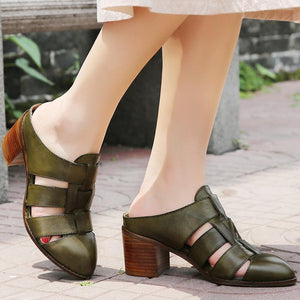 Med Chunky Heel Hollow Slip-on Sandals Casual Outdoor Slippers herhershoes