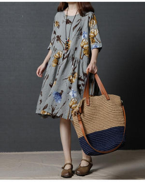 Plus Size Women Loose Floral Print Cotton Dress herhershoes