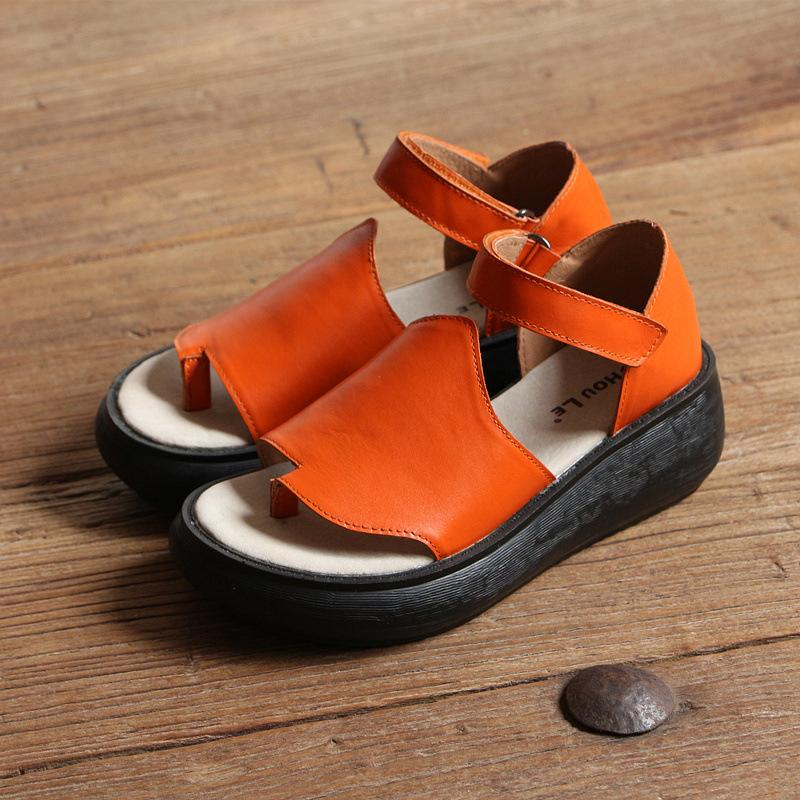 Peep Toe Thick Bottom Leather Sandals Summer Shoes herhershoes