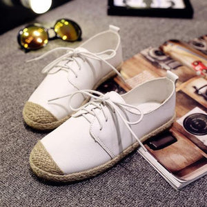 White Split Joint Women's Lace-Up Flats herhershoes