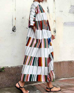 Round Neck Half Sleeve Color Block Casual Maxi Dress herhershoes