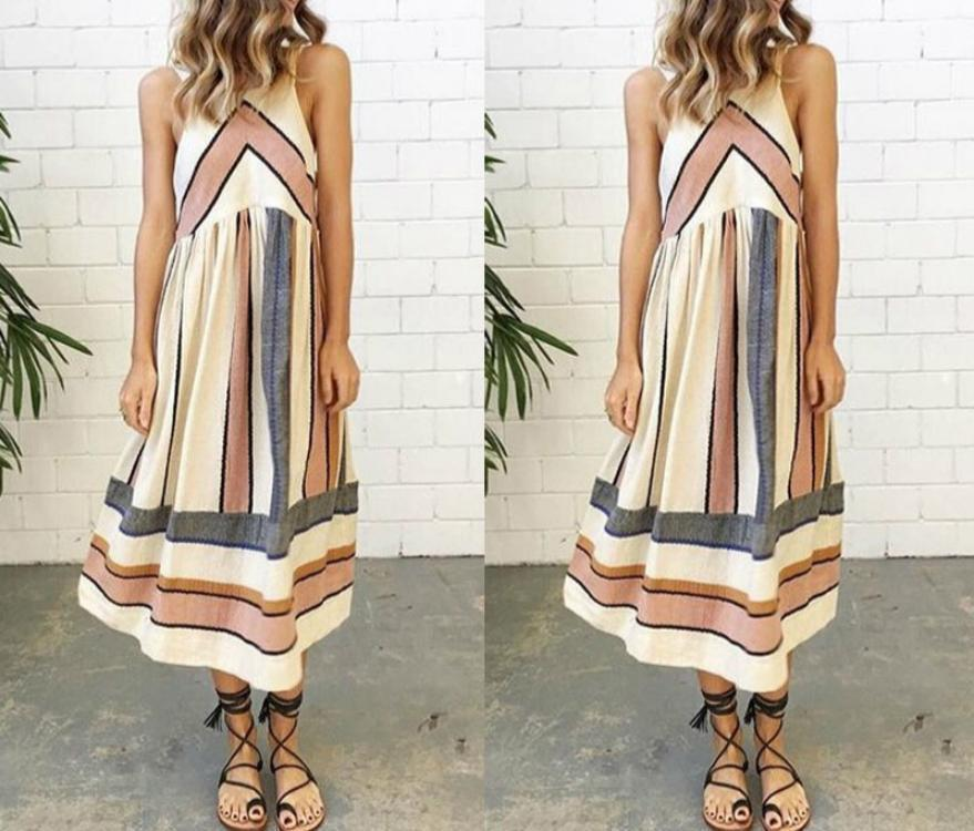 Casual Crew Neck Sleeveless Striped Summer Dress herhershoes