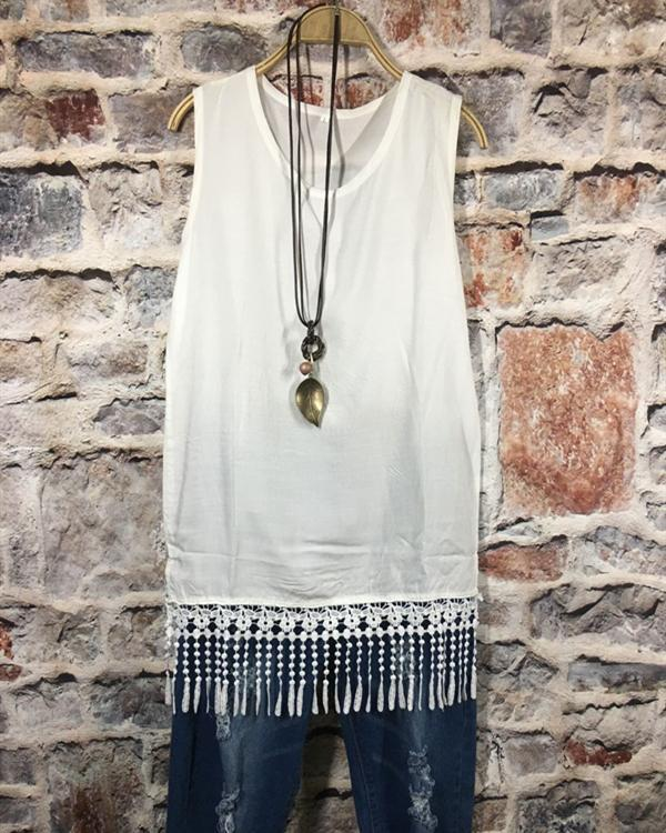 Sexy Solid Stitching Tassel Plus Size Vests Tops herhershoes