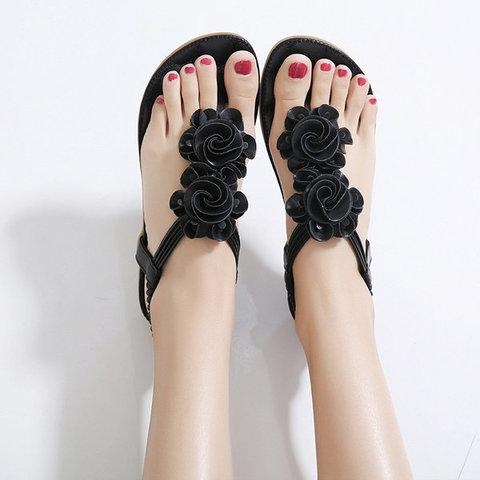 Flower Bohemia Clip Toe Elastic Flat Sandals For Women herhershoes