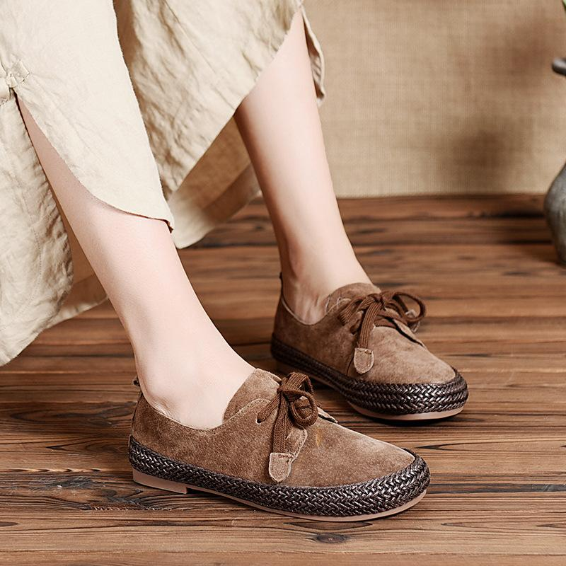 Women Weave Round Toe Low Heel Leather Loafers herhershoes