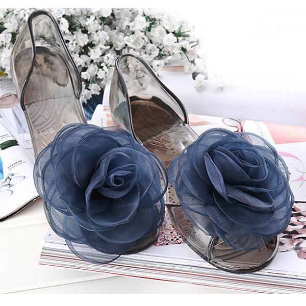 Flower Lace Transparent Peep Toe Slip On Beach Flat Slippers herhershoes