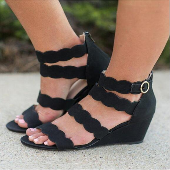 Plain Peep Toe Casual Date Wedge Sandals herhershoes