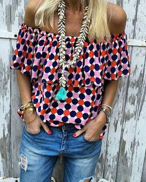 Casual Polka Dot Off-The-Shoulder Blouse herhershoes