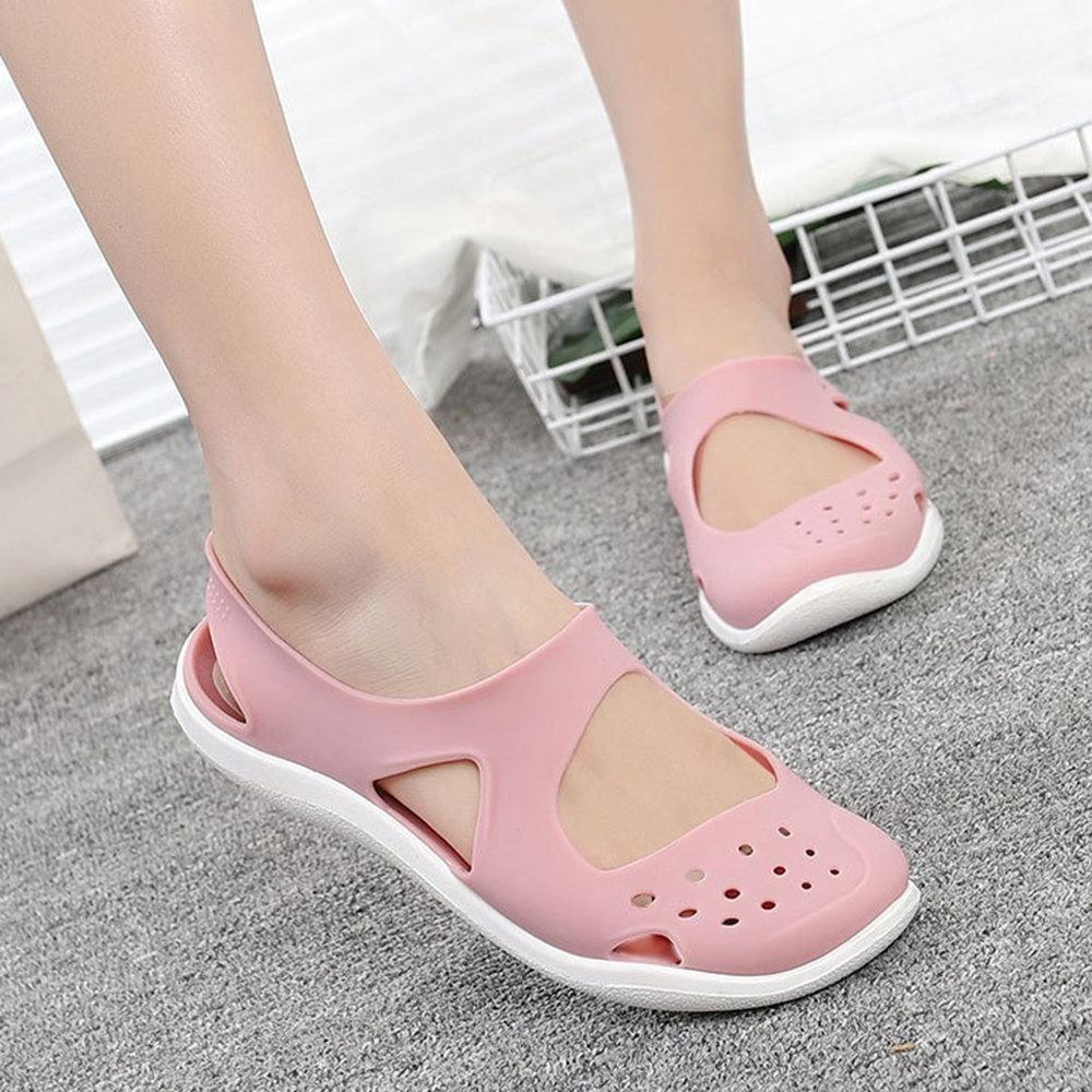 Women Casual Beach Hollow Out Jelly Flat Sandals herhershoes
