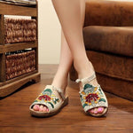 Embroidery Pattern National Wind Hollow Out Slip On Flat Sandals herhershoes