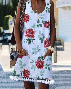 Fashion Flower Printed Sleeveless Tassel Dress herhershoes